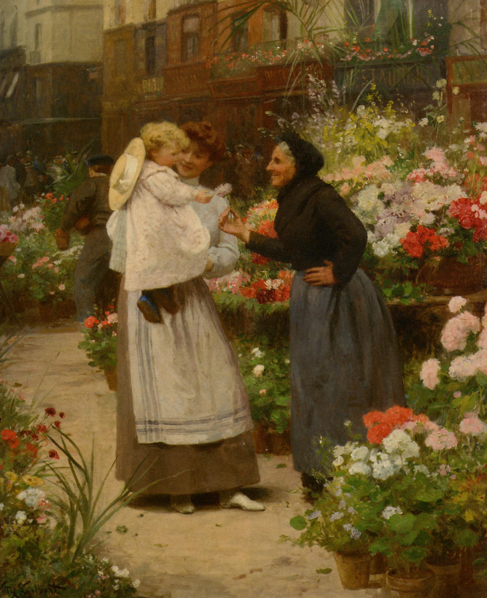 Flower offering to a child  :: Victor Gabriel Gilbert - Street and market genre scenes ôîòî