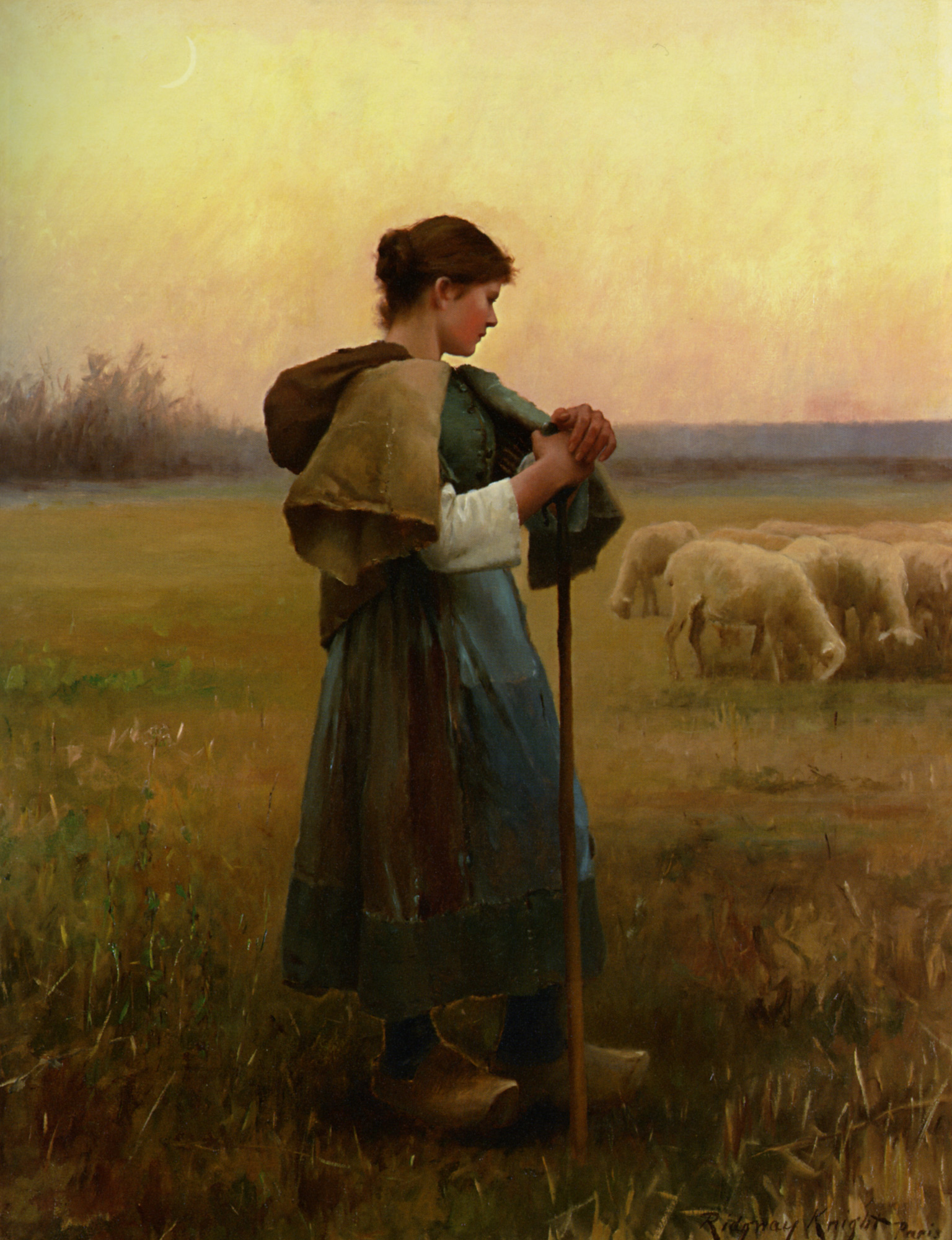 The Young Shepherdess :: Daniel Ridgway Knight - Village life ôîòî