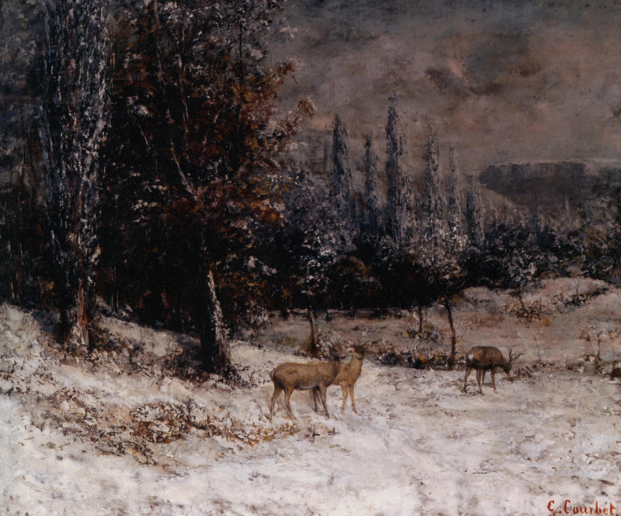 Roebucks in the snow :: Gustave Courbet - winter landscapes ôîòî