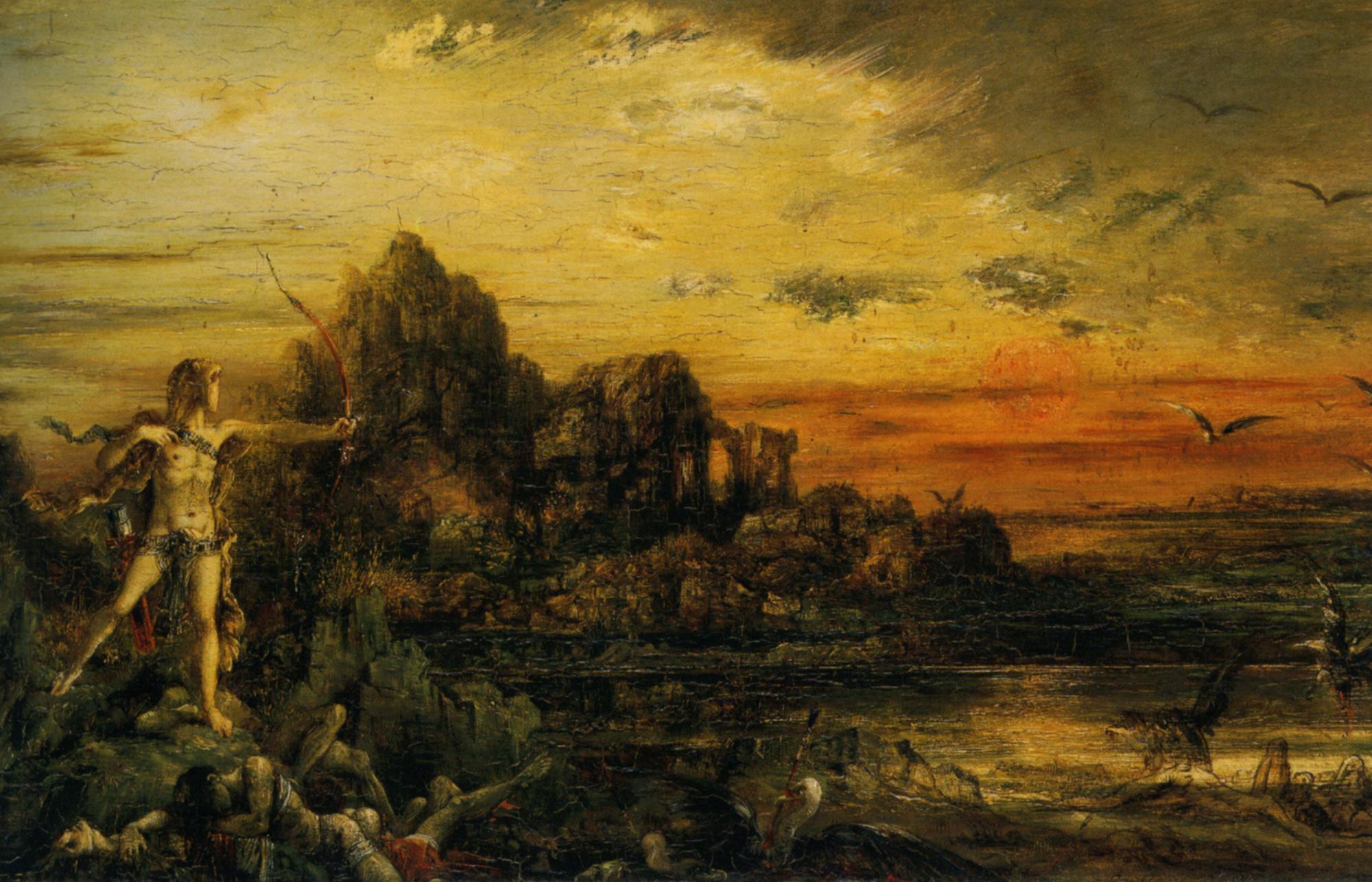 Hercules at the Lake Stymphale :: Gustave Moreau - mythology and poetry ôîòî