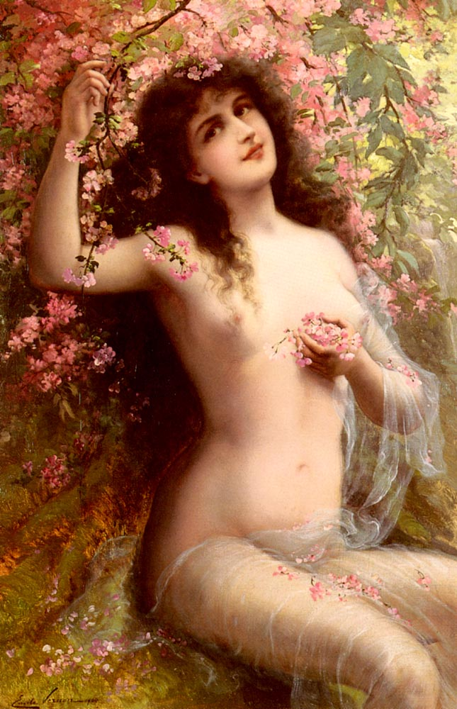 Among The Blossoms :: Emile Vernon  - Young beauties portraits in art and painting ôîòî