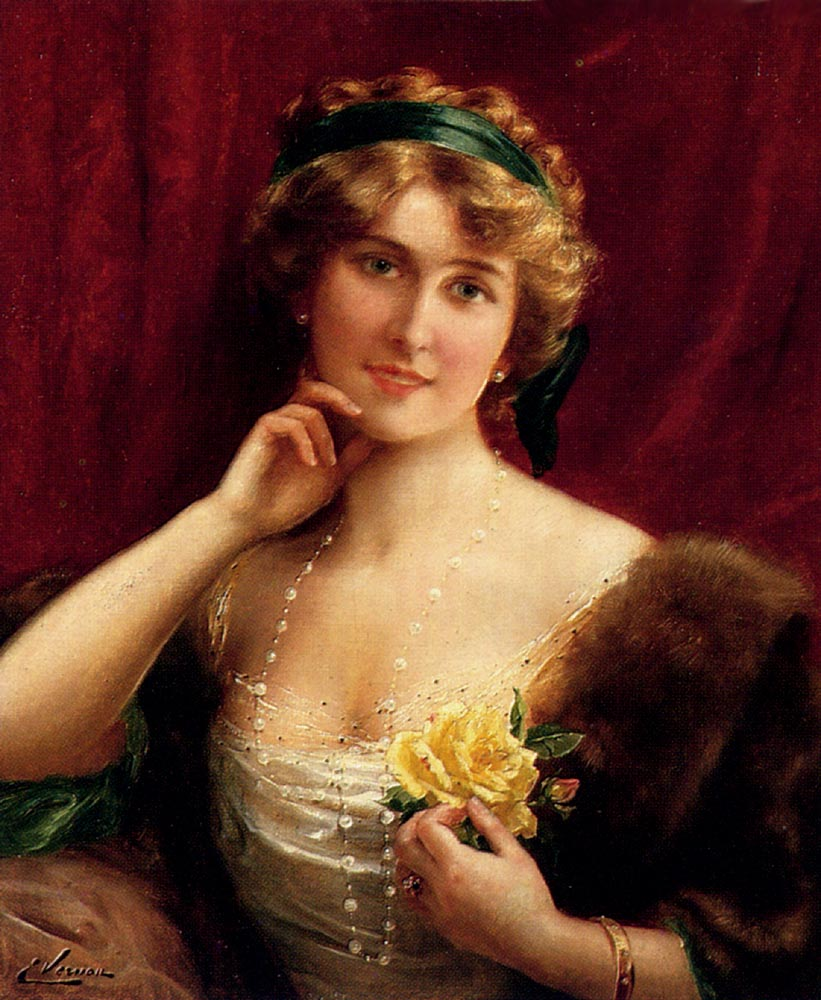 An Elegant Lady With A Yellow Rose :: Emile Vernon - Young beauties portraits in art and painting ôîòî