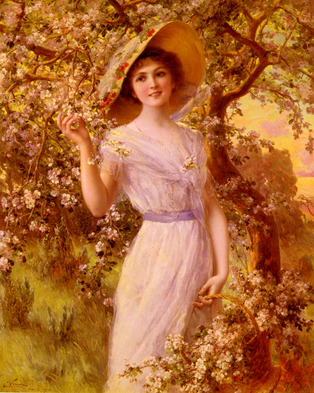 Cherry blossoms :: Emile Vernon - Young beauties portraits in art and painting ôîòî