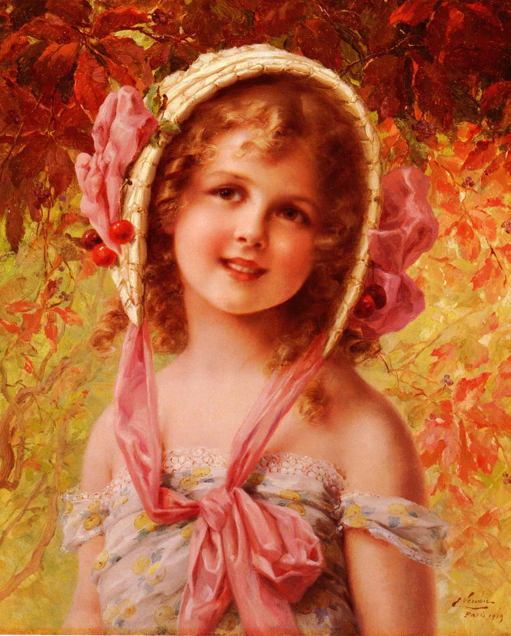 The Cherry Bonnet :: Emile Vernon - Portraits of young girls in art and painting ôîòî