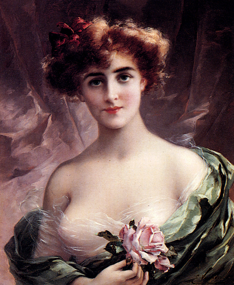 The Pink Rose :: Emile Vernon - Young beauties portraits in art and painting ôîòî