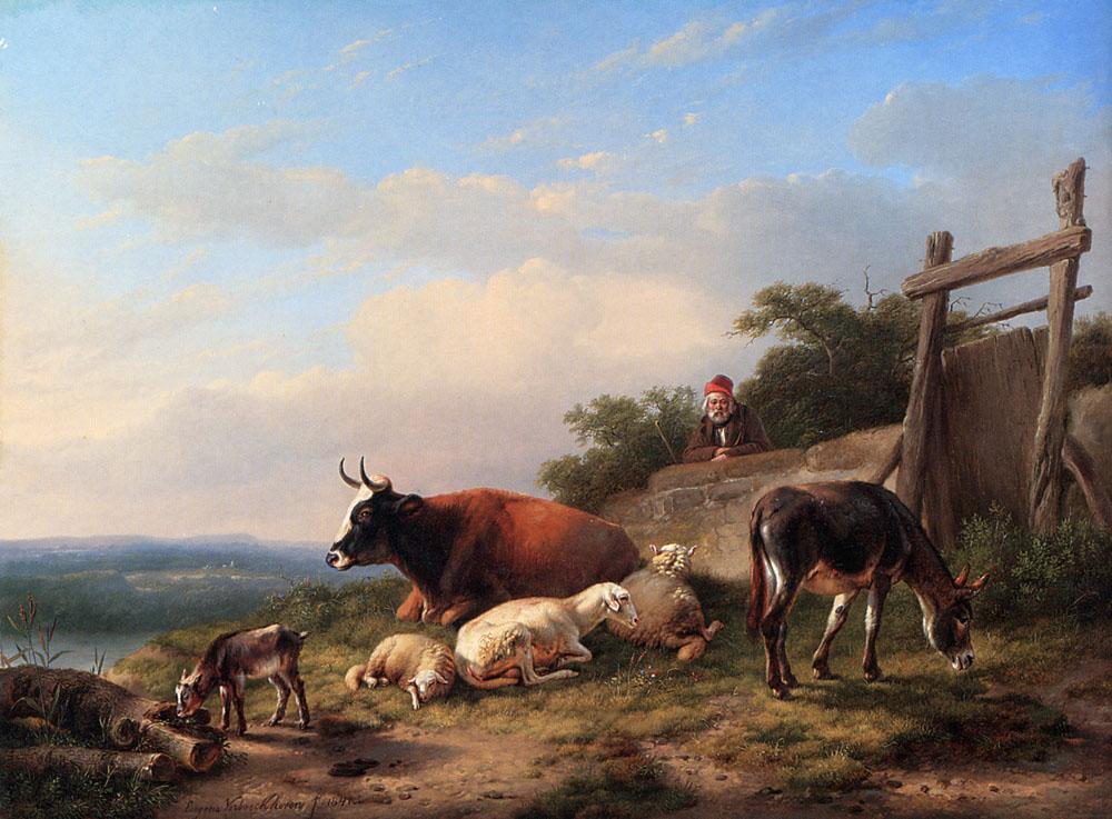 A Farmer Tending His Animals :: Eugene Verboeckhoven - Village life ôîòî
