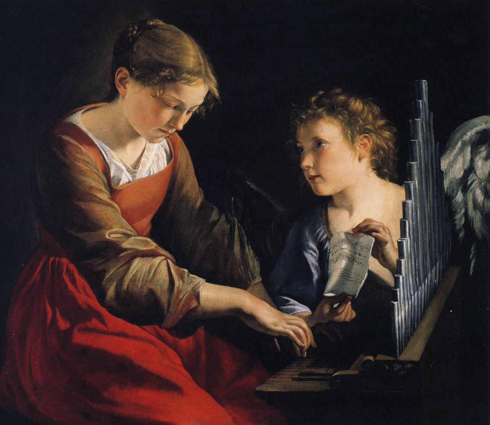 Saint Cecilia with an Angel :: Orazio Gentleschi - Angels in art and painting ôîòî