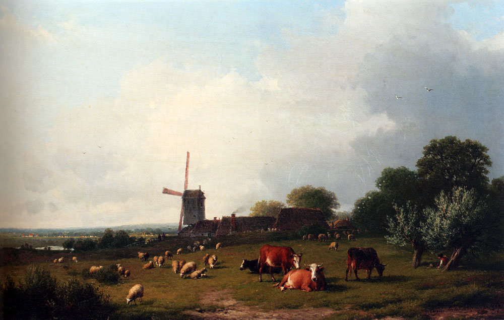 A Panoramic Summer Landscape With Cattle Grazing In A Meadow By A Windmill :: Eugene Verboeckhoven - Summer landscapes and gardens ôîòî
