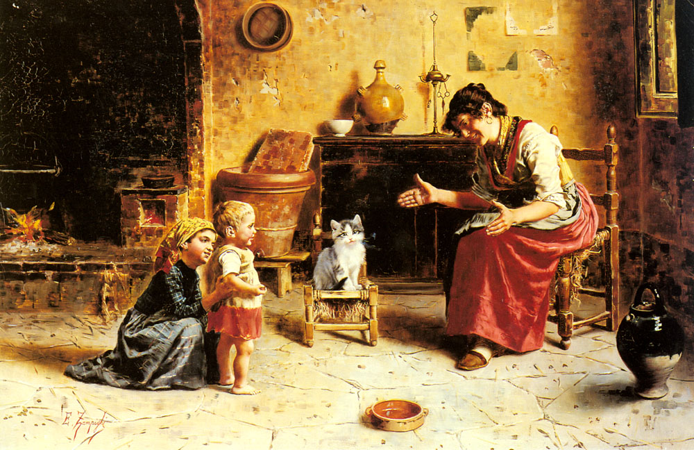 A Child's First Step :: Eugenio Zampighi - Woman and child in painting and art ôîòî