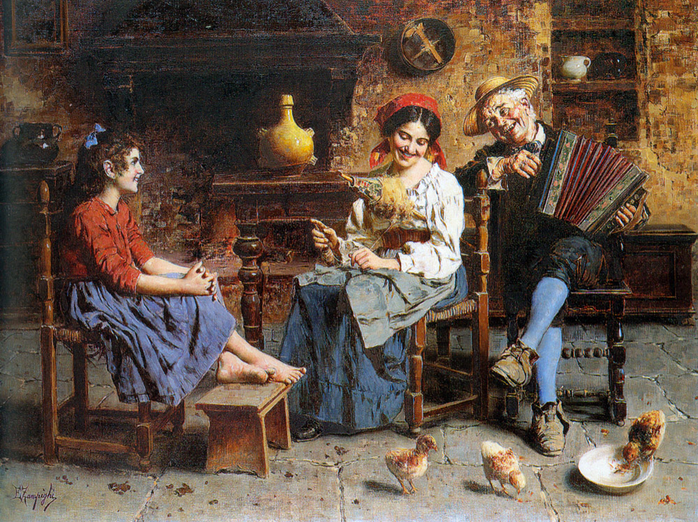 A Happy Tune :: Eugenio Zampighi  - Interiors in art and painting ôîòî