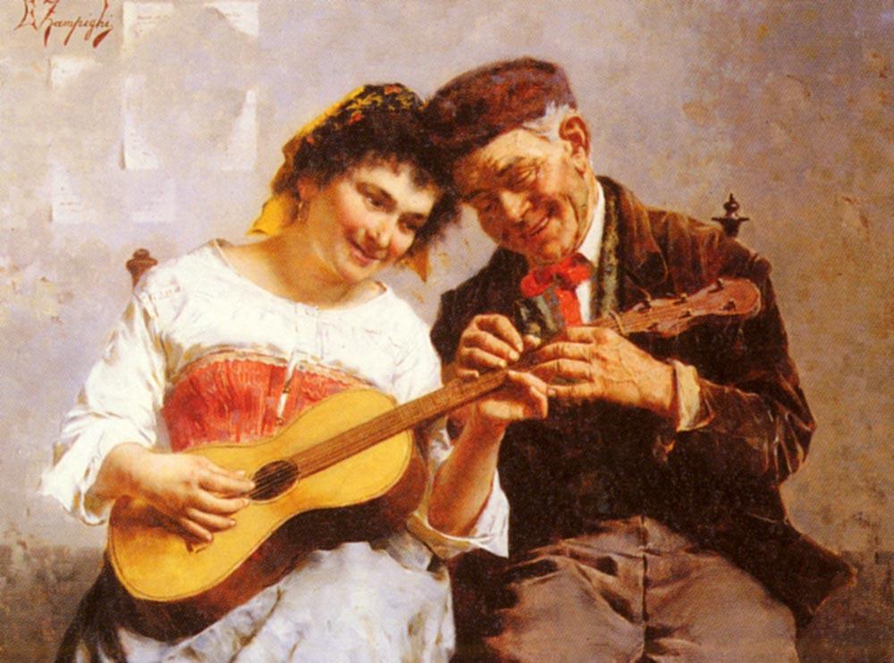 A Private Concert :: Eugenio Zampighi - Interiors in art and painting ôîòî
