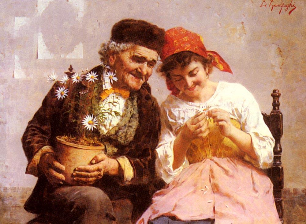 He Loves Me, He Loves Me Not :: Eugenio Zampighi - Romantic scenes in art and painting ôîòî