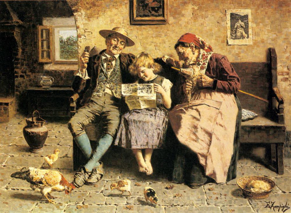 Reading the News :: Eugenio Zampighi - Interiors in art and painting ôîòî