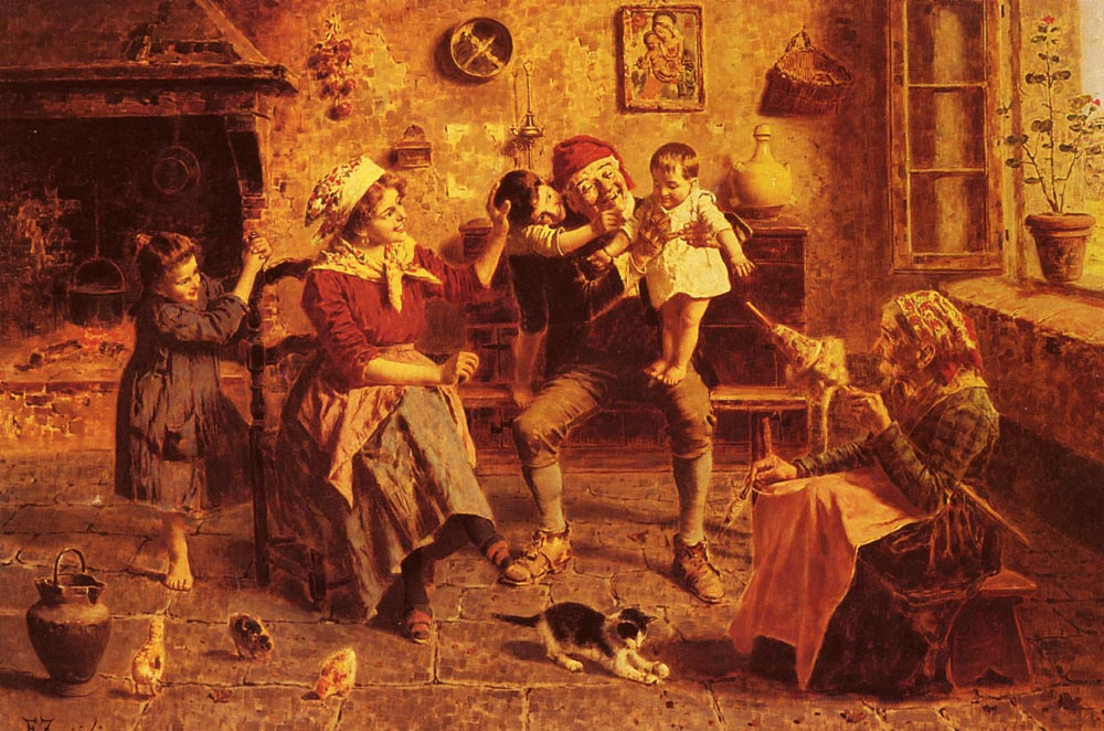 The Center of Attention :: Eugenio Zampighi - Woman and child in painting and art ôîòî