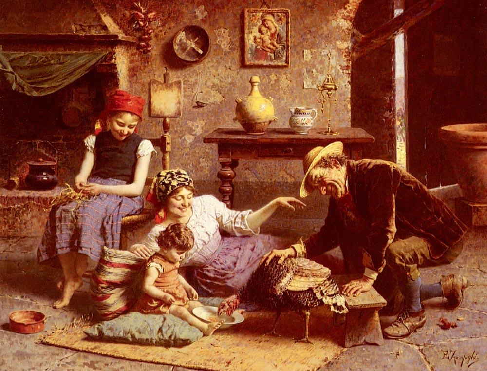 The Hungry Turkey :: Eugenio Zampighi - Interiors in art and painting ôîòî