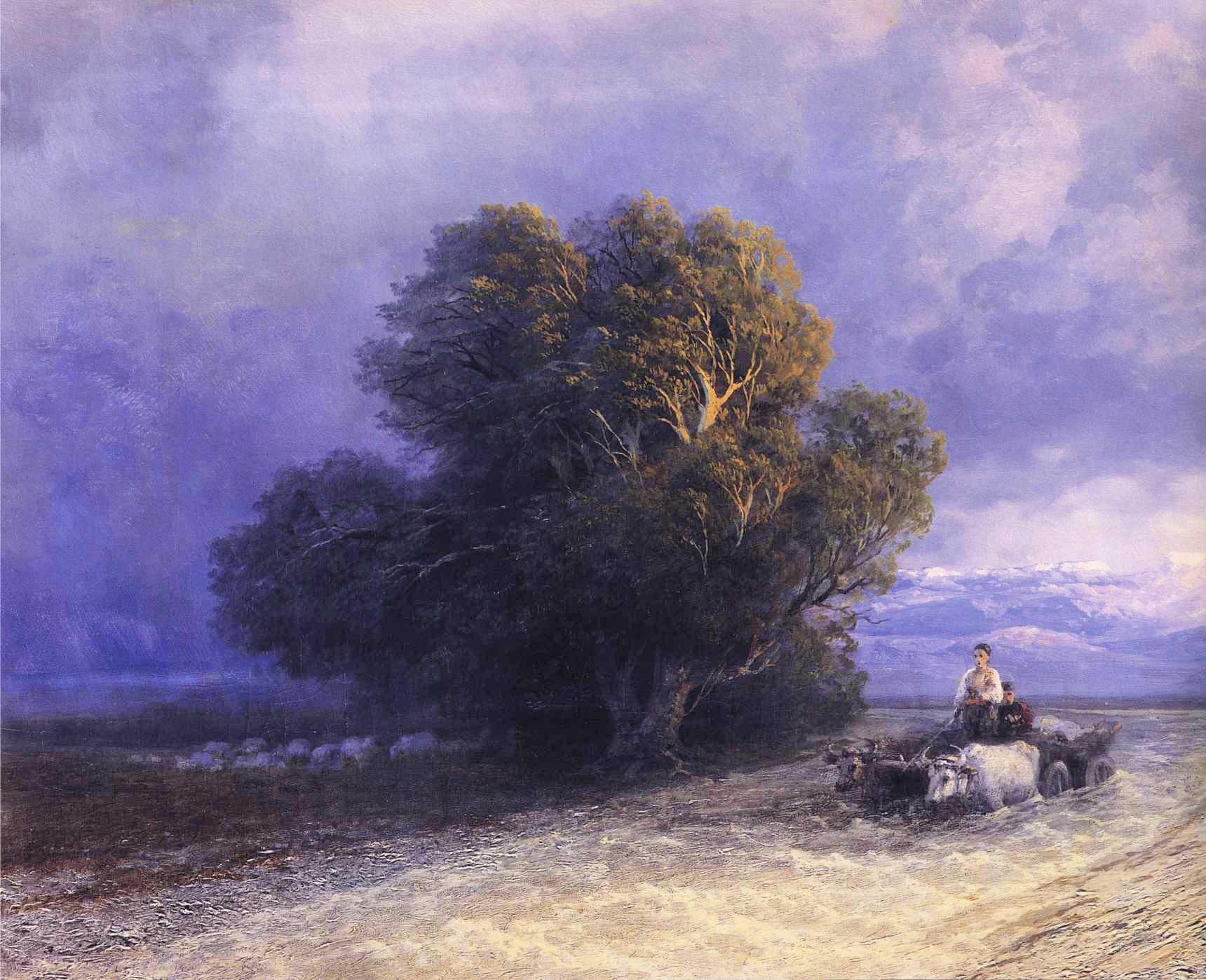 Ox Cart Crossing a Flooded Plain :: Ivan Constantinovich Aivazovsky  - Summer landscapes and gardens ôîòî