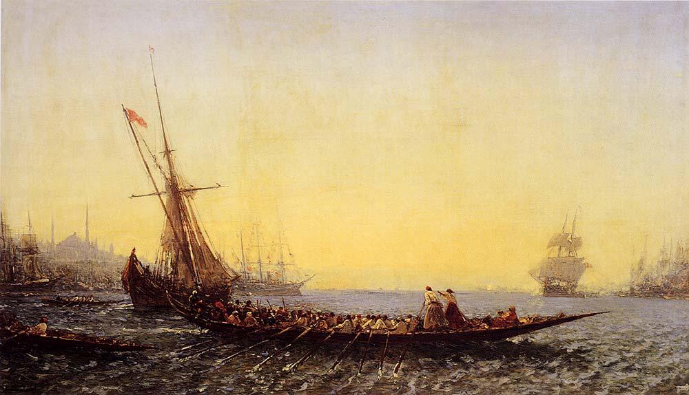 Harbour In Constantinople :: Felix Ziem - Sea landscapes with ships ôîòî