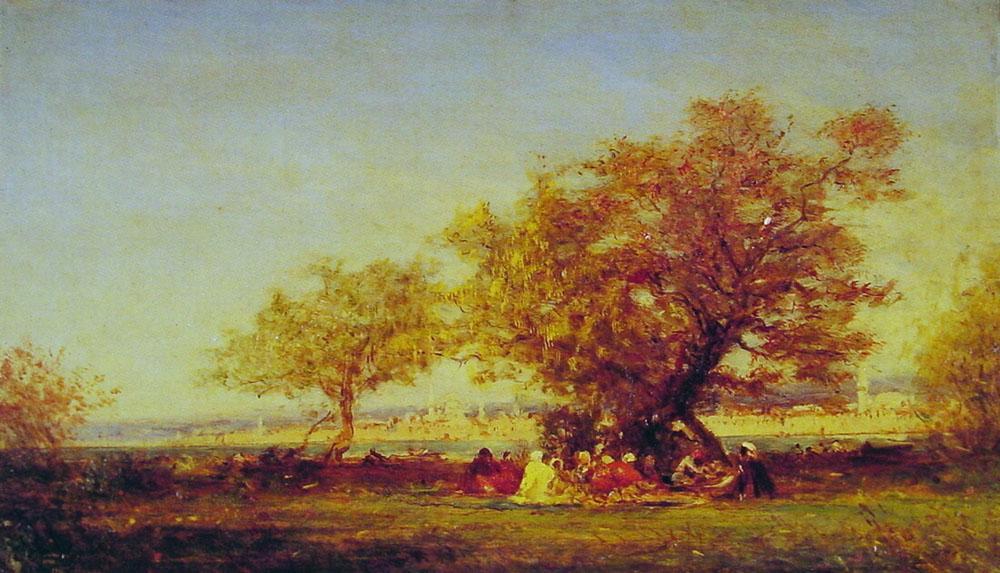 On the banks of the Bosphorus :: Felix Ziem - Summer landscapes and gardens ôîòî