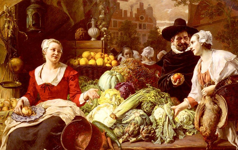 The Vegetable Market :: Ferdinand Wagner, Snr.  - Street and market genre scenes ôîòî