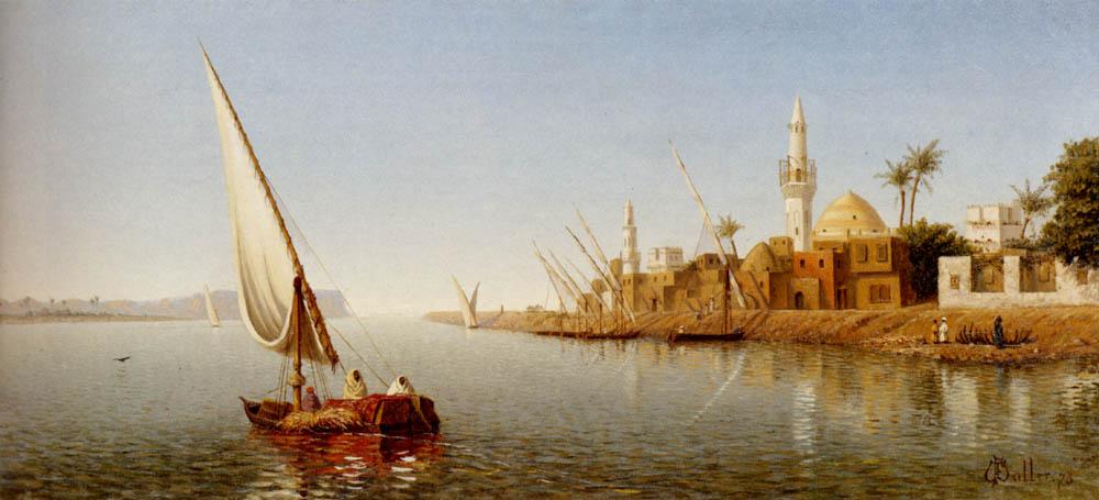On the Nile :: Frank Waller - Sea landscapes with boats ôîòî