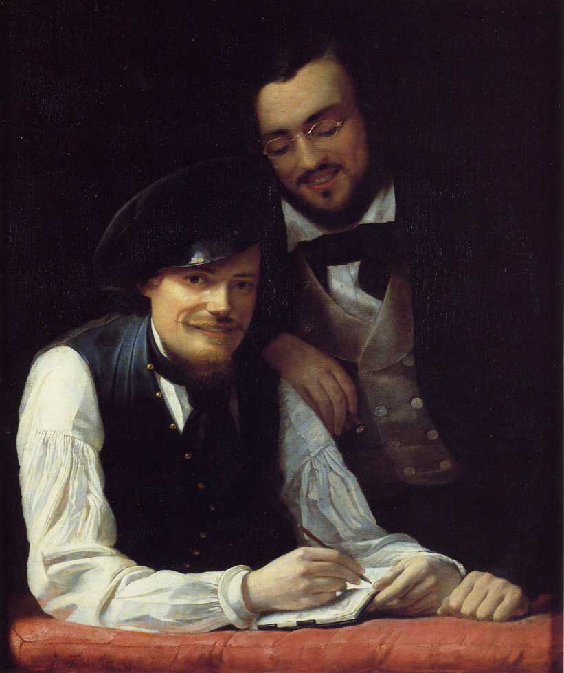 Self Portrait of the Artist with his Brother, Hermann :: Franz Xavier Winterhalter - men's portraits 19th century (first half) ôîòî