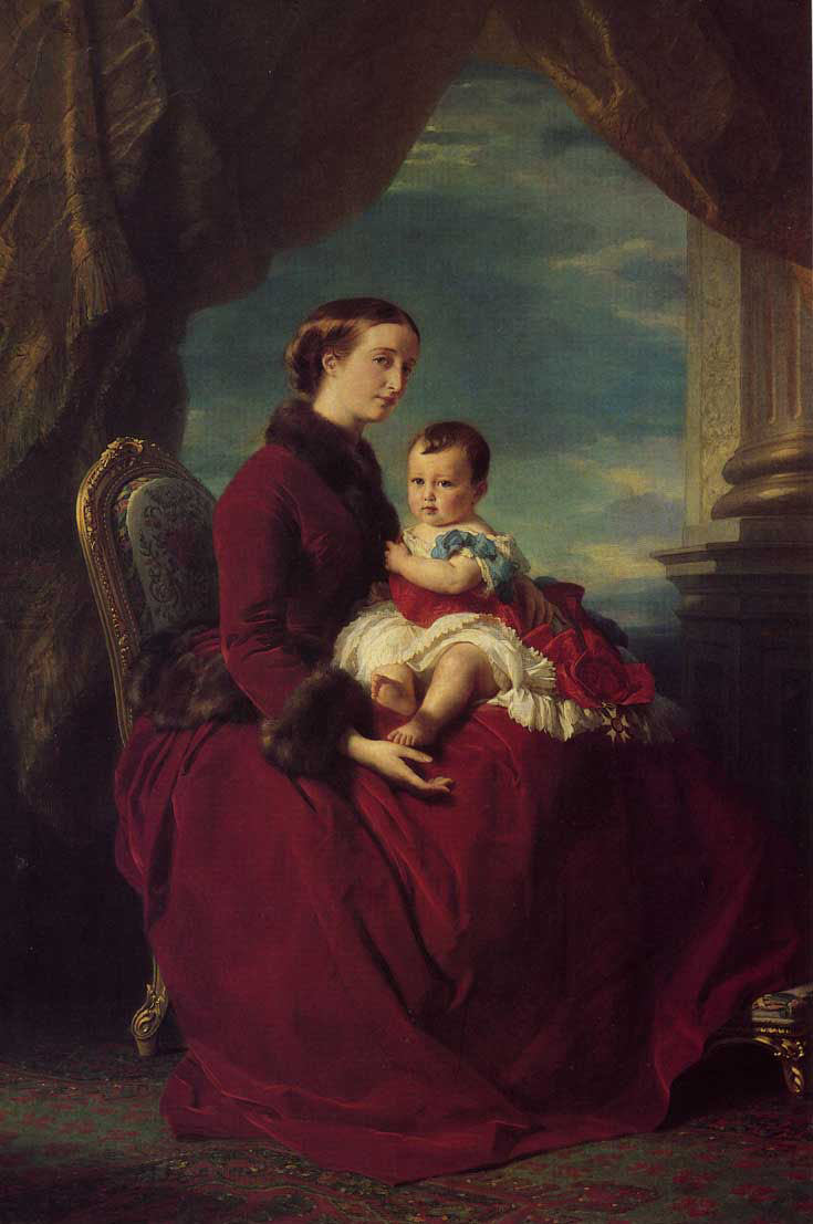 The Empress Eugenie Holding Louis Napoleon, the Prince Imperial on her Knees :: Franz Xavier Winterhalter  - 6 woman's portraits hall ( The middle of 19 centuries ) in art and painting ôîòî