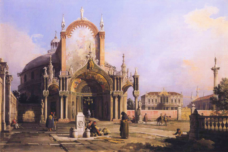 Capriccio of a Round Church with an Elaborate Gothic Portico in a Piazza, a Palladian Piazza and a Gothic Church Beyond :: Canal - Italy ôîòî