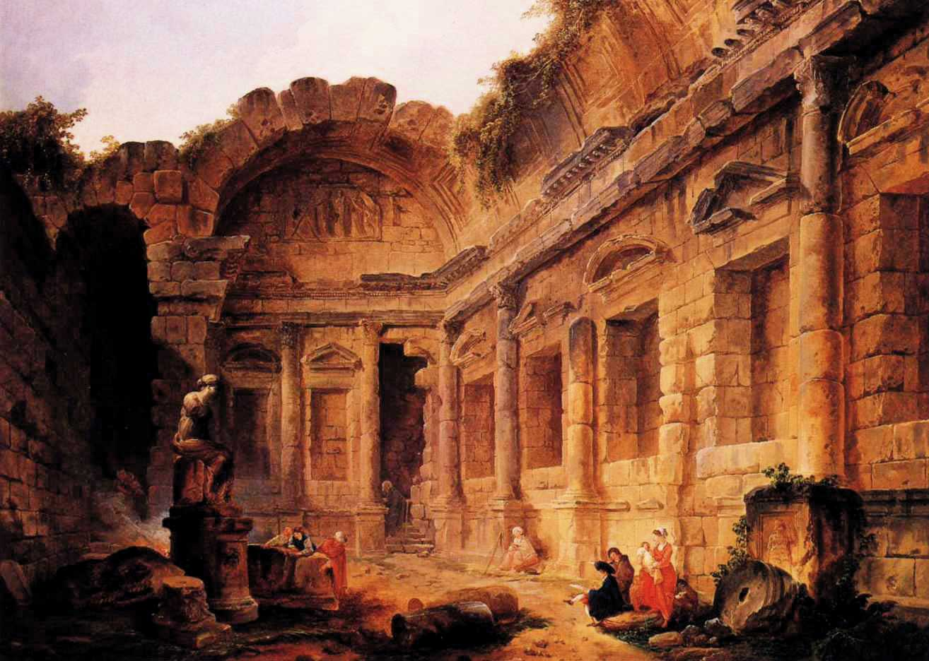 Interior of the temple of diana at nmes hubert robert architecture - Introir dijane ...