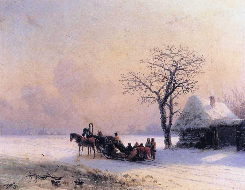 Winter Scene in Little Russia :: Ivan Constantinovich Aivazovsky  - winter landscapes ôîòî