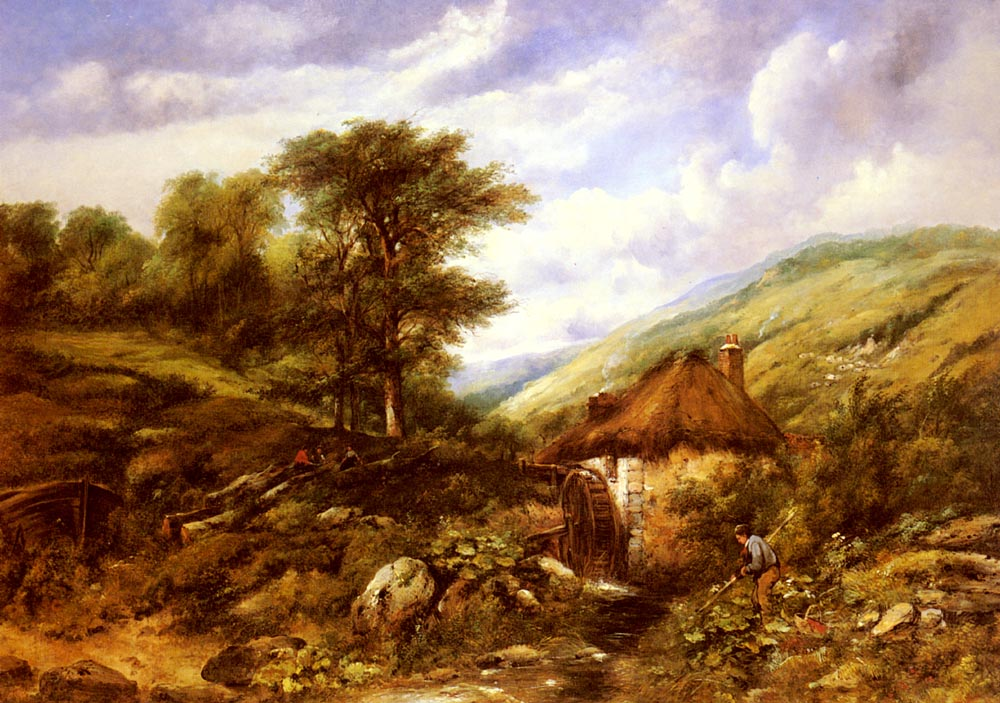 An Overshot Mill In A Wooded Valley :: Frederick William Watts - Summer landscapes and gardens ôîòî