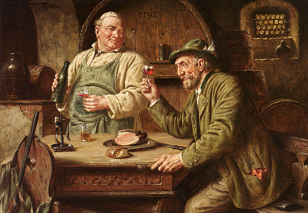 In The Wine Cellar :: Fritz Wagner - Interiors in art and painting ôîòî