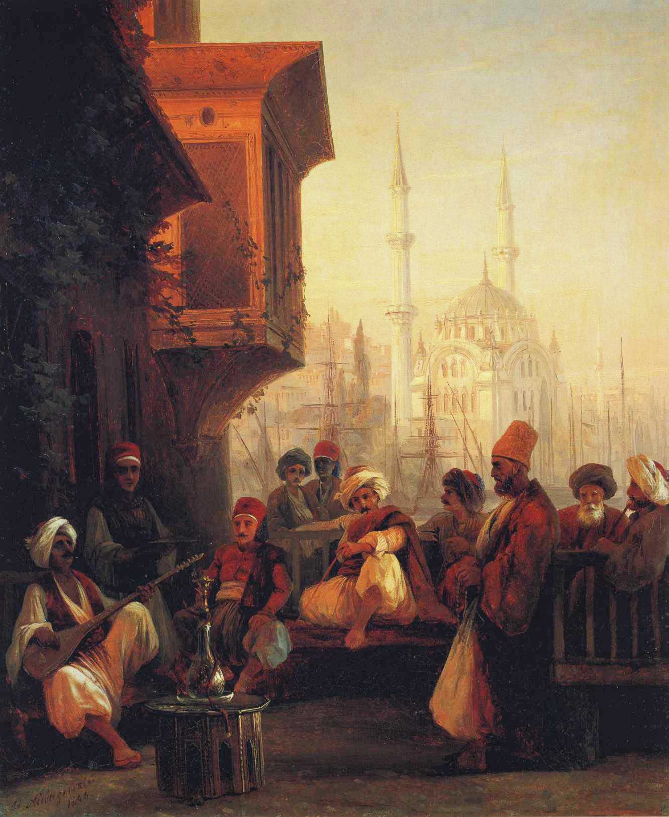 Coffee-house by the Ortakoy Mosque in Constantinople :: Ivan Constantinovich Aivazovsky - scenes of Oriental life (Orientalism) in art and painting ôîòî