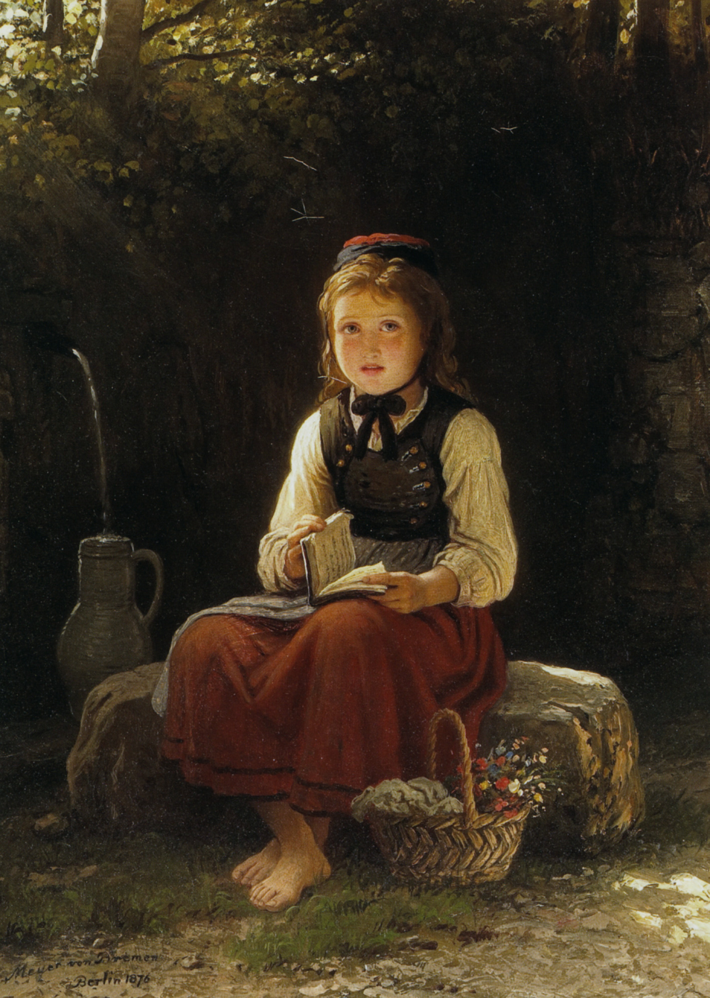 Young Girl at the Well :: Johann Georg Meyer von Bremen - Portraits of young girls in art and painting ôîòî