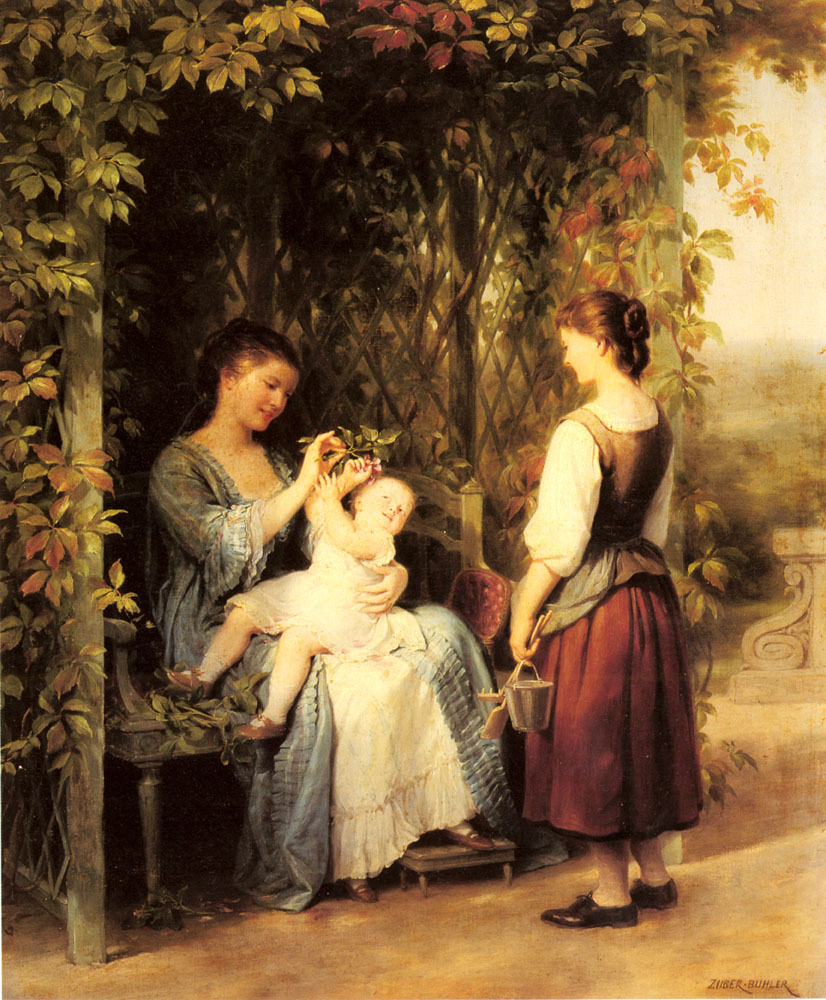 Tickling the Baby :: Fritz Zuber-Buhler - Woman and child in painting and art ôîòî
