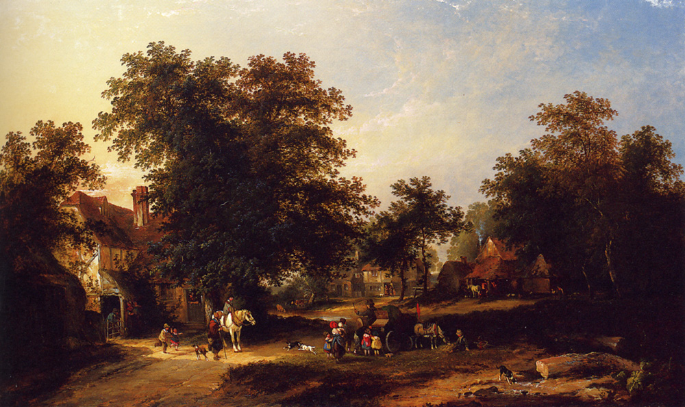 The Hurdy-Gurdy Man :: George Augustsus Williams - Summer landscapes and gardens ôîòî
