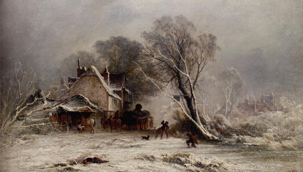 The Snowball Fight :: George Augustsus Williams - winter landscapes ôîòî