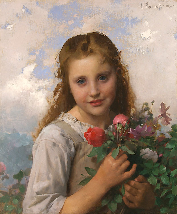 Little girl with a bouquet of flowers  :: Leon Bazile Perrault - Young beauties portraits in art and painting ôîòî