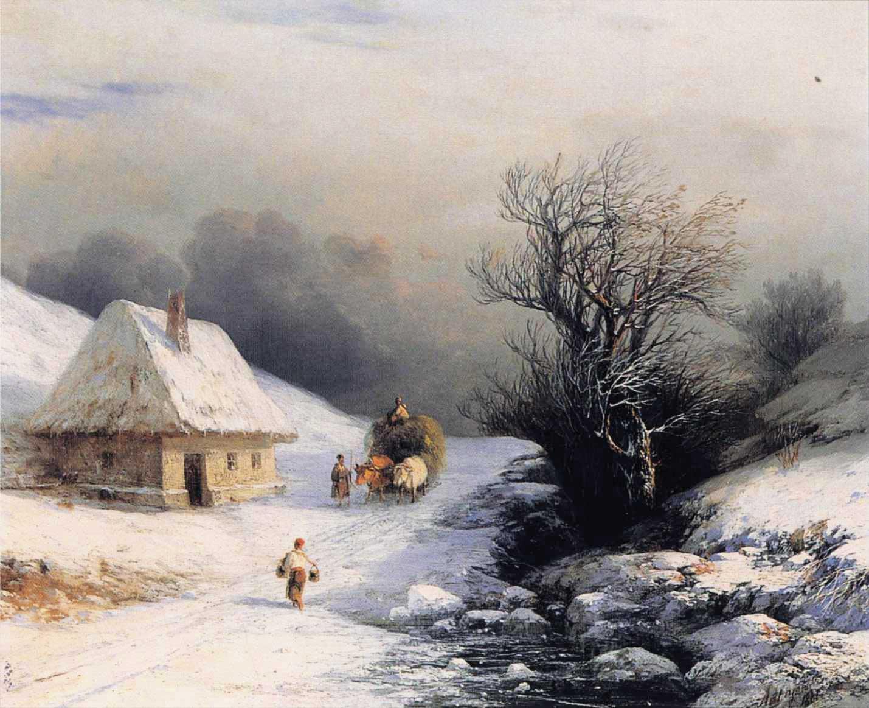 Little Russian Ox Cart in Winter :: Little Russian Ox Cart in Winter  - winter landscapes ôîòî