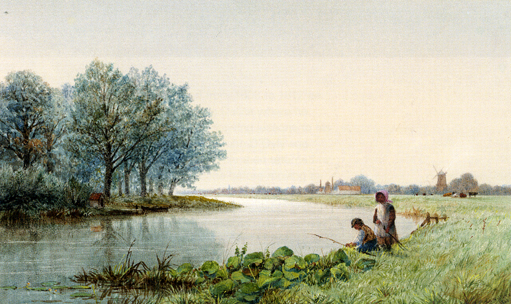 Children Playing By A River, A Village Beyond ::George Stanfield Walters  - River landscapes ôîòî