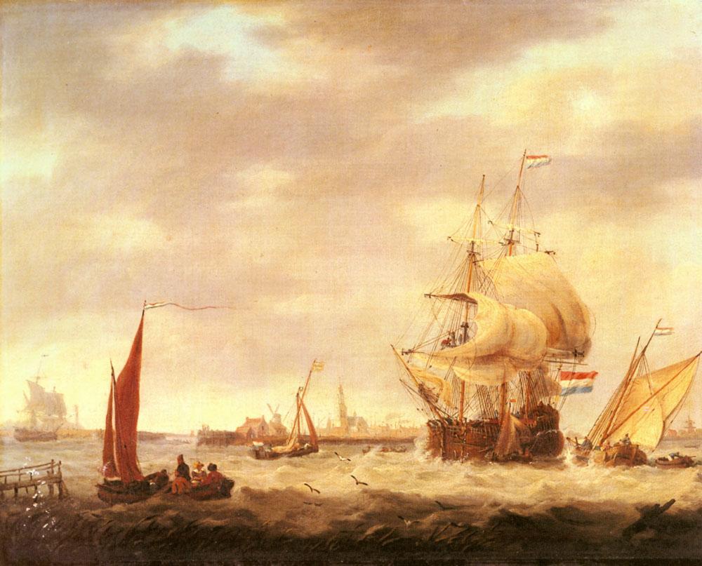 Merchant Ship and Fishing Vessels off the Dutch Coast :: George Webster - Sea landscapes with ships ôîòî