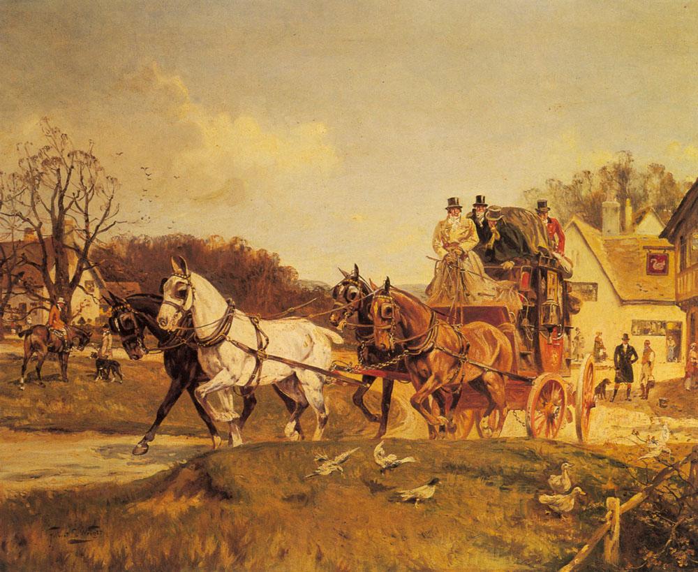 A Coach and Four Leaving an Inn :: Gilbert Scott Wright - Hunting scenes ôîòî
