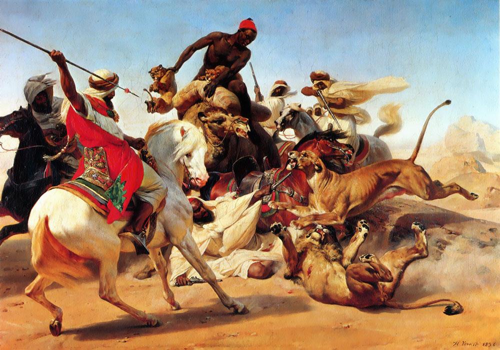 The Lion Hunt :: Horace Vernet - Hunting scenes ôîòî