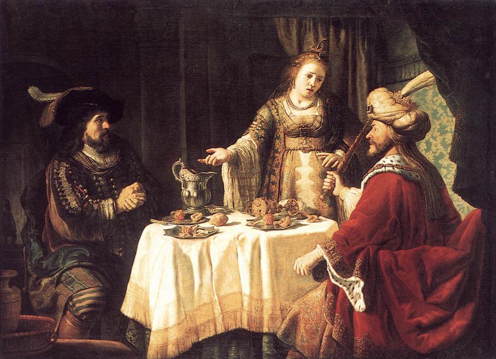 The Banquet of Esther and Ahasuerus :: Jan Victors - mythology and poetry ôîòî