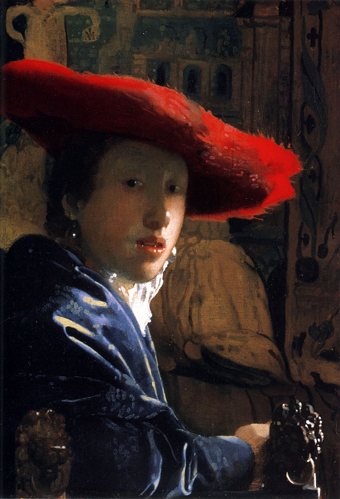 Girl with a Red Hat :: Johannes Vermeer - 3 women portraits 17th century hall ôîòî