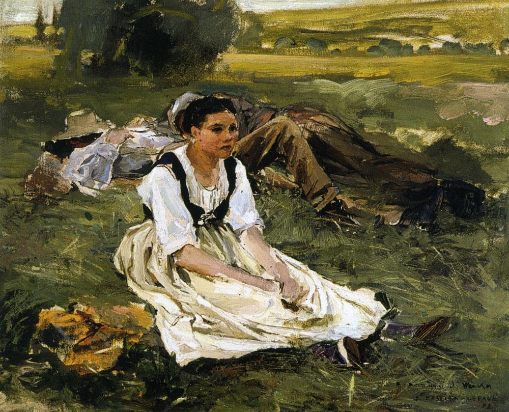 Oil Study (sketch) for oil painting on haymaking (mowers) :: Jules Bastien-Lepage - Village life ôîòî
