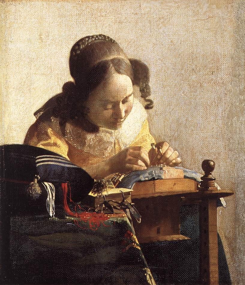 The Lacemaker :: Johannes Vermeer - 3 women portraits 17th century hall ôîòî