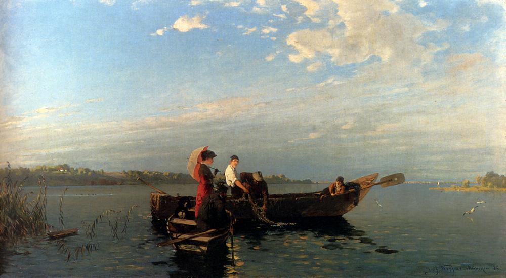 An Afternoon's Boating :: Joseph Wopfner - River landscapes ôîòî