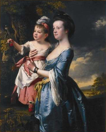 Portrait of Sarah Carver and her daughter Sarah :: Joseph Wright of Derby - Woman and child in painting and art ôîòî