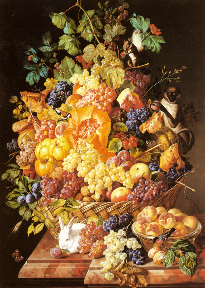 A Basket of Fruit with Animals :: Leopold Zinnogger - Still-lives with fruit ôîòî
