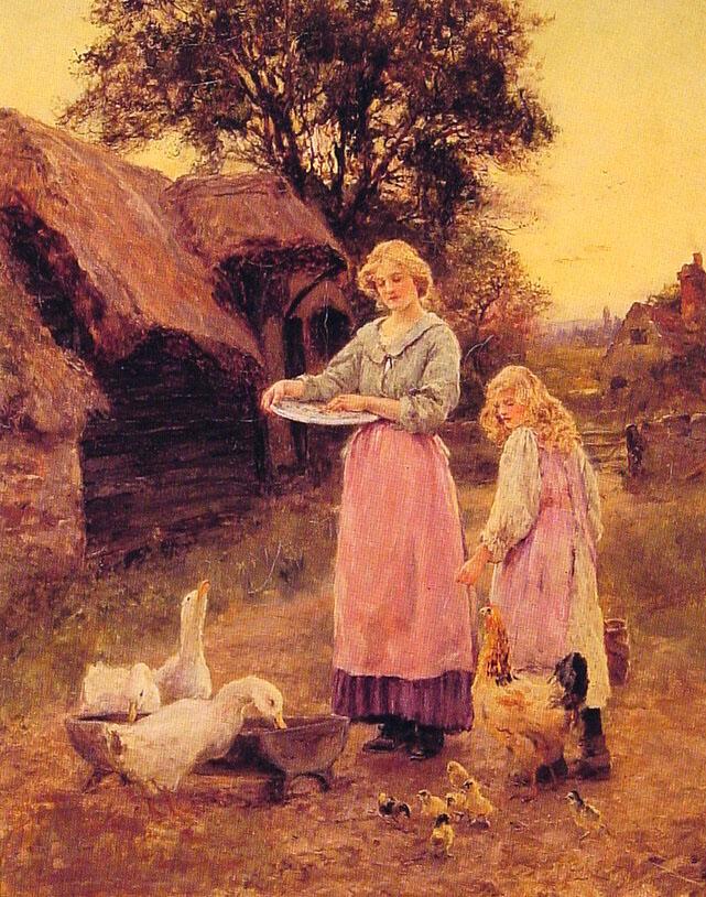 Feeding the Ducks :: Lilian Yeend King - Village life ôîòî